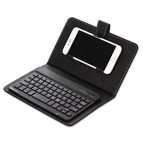 ASOSMOS Tragbare PU Leder Tastatur Abdeckung Hülle Fall Telefon Wireless Bluetooth Tastatur für iPhone Android (Schwarz) (Bluetooth Iphone Tastatur Fall)