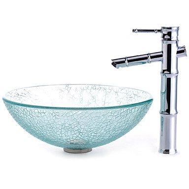 Einbauring Finish (Transparent Geknackt Stil Waschbecken aus Sekuritglas mit Bambus Stil Wasserhahn, Einbauring und Wasserablauf)