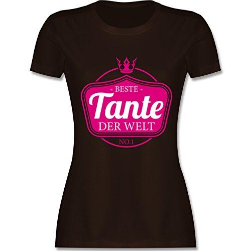 Shirtracer Schwester & Tante - Beste Tante der Welt - Damen T-Shirt Rundhals Braun
