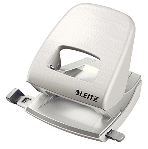 Leitz 50066004 Locher (30 Blatt, Anschlagschiene mit Formatvorgaben, Gebürstete Alu-Optik, Metall, NeXXt Style) arktik weiß (Locher Set)