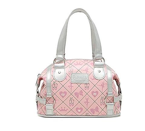Women's PVC Embossed Print Princess Mini Duffle Handbag Pink+silver Small Size