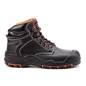 Botas de Seguridad de Cuero para Hombres Puntera de Acero S3 SRC Calzado de Trabajo al Tobillo de Cuero 9972