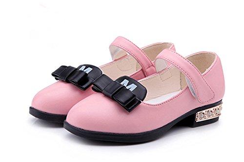 La vogue Mädchen Ballerinas Festliche Schuhe Kinderschuhe Klettverschluss Rosa