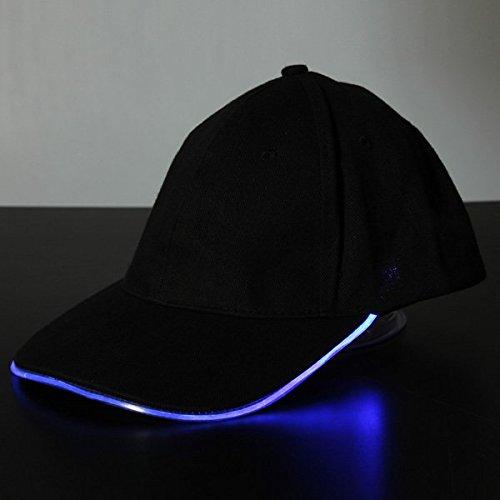 Bluelover LED-Licht-Glow-Club-Party Sport Sportlich Schwarzen Stoff Reisen Hut Cap-Blau