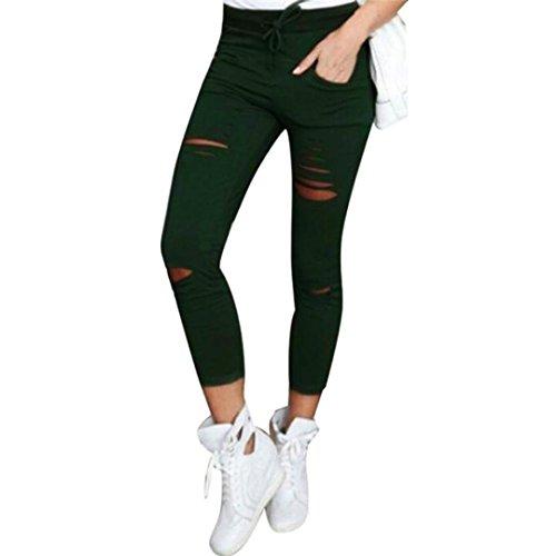 Dragon868 pantaloni donne, pantaloni donna strappati elasticizzati pantaloncini vita alta nero verde bianco casual 2018 estivi taglie forti