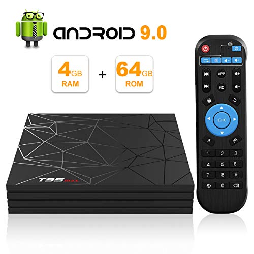 TV Box Android 9.0, Smart Box TV T95 Max con RAM da 4 GB 64 GB ROM CPU Allwinner H6 quad-core Cortex-A53 WiFi da 2,4 GHz Supporta 6K 4K 2 K Uscita H.265 100M LAN Enternet USB 3.0 Set Top Box