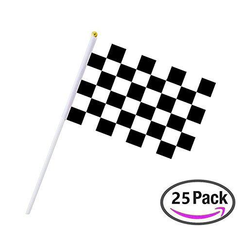 25 Stück Karierten Flagge 20,3 x 14 cm Racing Polyester Flaggen auf Kunststoff Stick, Schwarz & Weiß Karierte Flagge, Dekorationen Supplies für Racing, Race Auto Party, Sport Events
