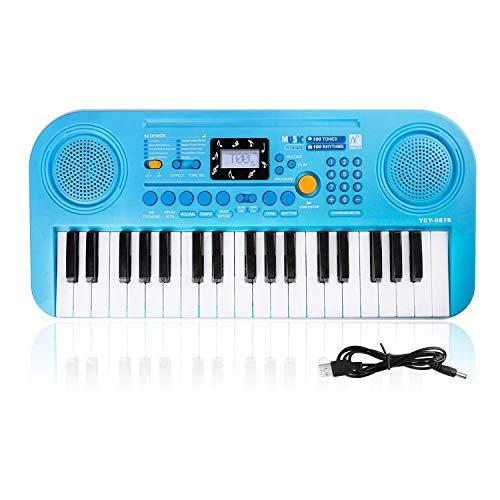 Kinder Keyboard, 37 Tasten Klaviere Doppel-Lautsprecher LCD-Display Keyboard Kind Elektronische Orgel, Musikinstrument pädagogisches Spielzeug Geschenk für Kind Kinder Kleinkinder(Blau)