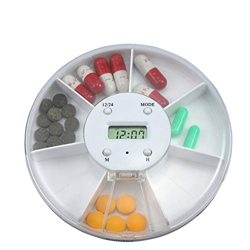 Automatische Medikamenten-dispenser (YesDone Elektronischer Tablettenspender, Zeitschaltuhr für Alarm mit 7 Fächern. Drug Reminder Organizer)
