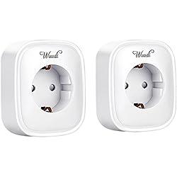 Intelligent Messen Steckdose ,Wuudi WLAN Smart Plug Steuerung Ihrer Geräte per Handy von überall( Android und iOS, Messung des Stromverbrauchs) Weiß und Alexa [Echo, Echo Dot] (2PACK)