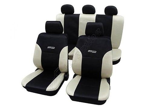 Housses pour sièges de voitures auto, Aspect cuir, Kit complet, Komplett-Set, Toyota Camry ohne Seitenairbag, crème beige noir