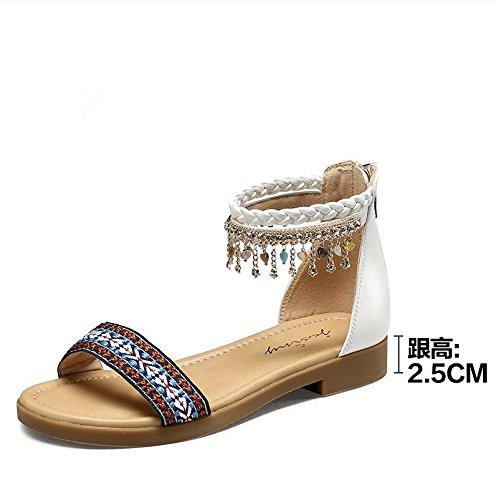 La mode des femmes d'été confortables sandales hauts talons,or 38 White