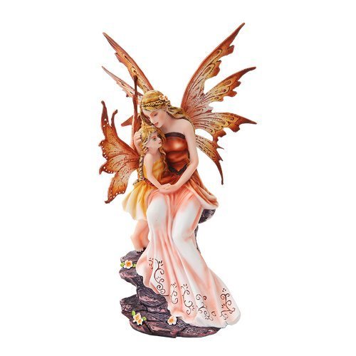 8.75 Inch Mother and Baby Orange Winged Fairy Statue Figurine by PTC