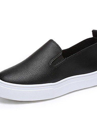 ShangYi gyht Scarpe Donna-Sneakers alla moda / Mocassini-Ufficio e lavoro / Formale / Casual-Comoda-Piatto-Finta pelle-Nero / Bianco White