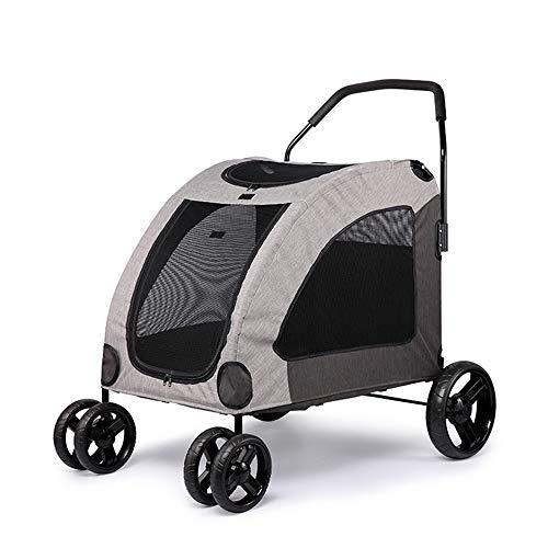 MMUY Vierrad-Kinderwagen für Katzen, Hunde und mehr, zusammenklappbarer Kinderwagen mit Gitterfenster,Gray -