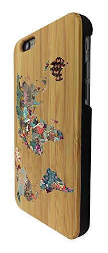 Preisvergleich Produktbild C0191 - Colourful Tropical World Map Design iphone SE - 2016 / iphone 5 5S Natural Holz Real Wood Hülle Case Cover