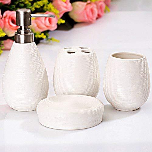 CCMOO Kurze Ocean Style Waschraum-Sets Keramik-Bad-Accessoires 4 Sätze Zahnpasta Zahnbürstenhalter Seife Emulsion Flasche-Burgund (Burgund Zahnbürstenhalter)