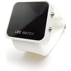 AKORD COLOUR LED RETRO STYLISH FASHION DIGITAL MENS/LADIES/GIRLS/BOYS JELLY SILICONE WRIST WATCH (White)