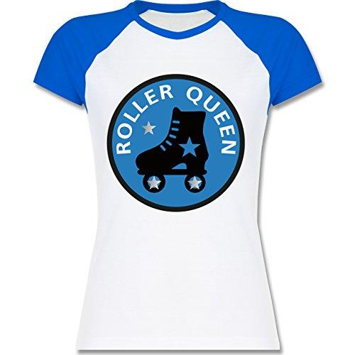 Shirtracer Vintage - Roller Queen Rollschuh - Zweifarbiges Baseballshirt/Raglan T-Shirt für Damen Weiß/Royalblau