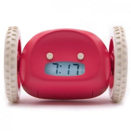 CLOCKY der fliehende Alarm Wecker auf Rädern in ROT / Da steht man Morgens garantiert auf!
