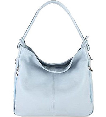 Borsa Donna a spalla in vera pelle made in Italy BC229 Celeste
