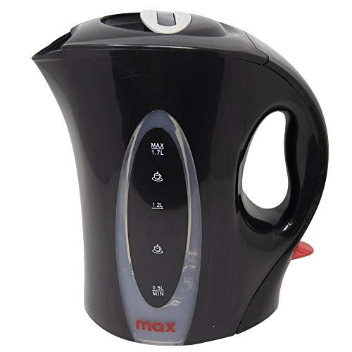 Max bollitore elettrico, spegnimento automatico, nero, 2000w, 1.7 litri