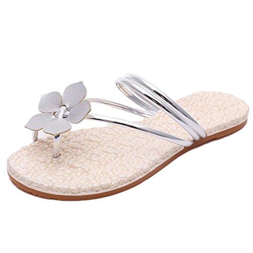 YOUJIA Bohême Beach Tongs Une Fleur Embellishment Flip Flops Sandales Femme silver