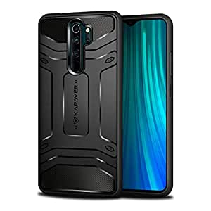 KAPAVER® Xiaomi Redmi Note 8 Pro Rugged Back Cover Case MIL-STD 810G Officially Drop Tested Solid Black Shock Proof Slim Armor Patent Design (Only for Redmi Note 8 Pro) (Rugged Black)