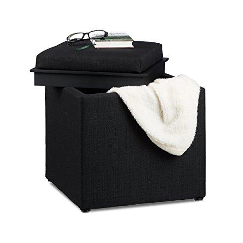 Relaxdays Sitzhocker mit Stauraum, HxBxT: 42 x 40,5 x 40,5 cm, Aufbewahrungsbox, Leinen Optik, Stoff, schwarz (Kiste Decke)
