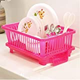 Grivety 3 in 1 Durable Plastic Kitchen Sink Dish Drying Drainer Rack Holder