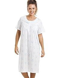 Chemise de nuit - longueur genou/manches courtes/douce/confortable - à fleurs - bleu