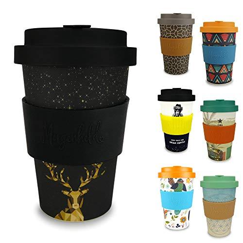 Morgenheld Dein trendiger Bambusbecher | Coffee-to-Go-Becher | Kaffeebecher mit Schraubdeckel und Banderole in coolem Design 400 ml Füllmenge (Deer)