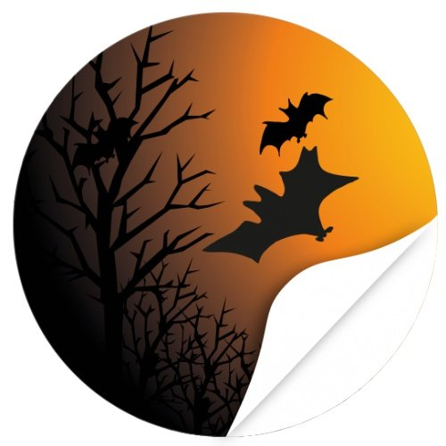 Halloween Dekoration/Aufkleber/Sticker/48 Stück/Kahler Wald Fledermäuse zum Kleben/Dekorieren/Selbstklebend/Rund, 4cm