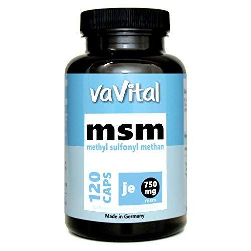 MSM - 750mg je Kapsel | 120 Kapseln | 100{cf9a3f0855826fd20ff9b3149866ea64e4a455657ee337747f9bd6bffadca3df} Vegan | 4 Monatsvorrat | hergestellt in Deutschland | Premium Produkt - vaVital