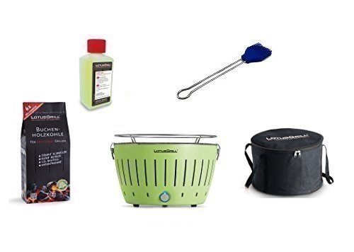 LotusGrill Barbecue Kit de démarrage 1x Lotus Barbecue charbon de bois de hêtre Vert citron 1x 1kg, 1x Pâte à combustible Bleu Outremer 200ml, 1x Pinceau, 1x sac de transport