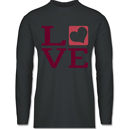 Shirtracer Valentinstag - Love Herz Typographie - Herren Langarmshirt Dunkelgrau