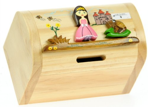 Princesse : Fabriqué à la main tirelire en bois avec serrure secret! Cadeau fantastique pour Noël ou anniversaire. Haute qualité traditionnelle cadeau de Noël pour les enfants ou les adultes. (Taille 17 x 13 x 5 cm)
