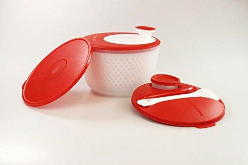 TUPPERWARE Salatschleuder Salat-Karussell 3,8 L rot-weiß+Deckel+Behälter+Besteck P 26422