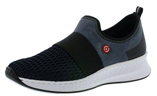 Rieker N5651 Damen Sneaker, Schnürhalbschuhe, Halbschuhe blau kombi (navy/denim/schwarz / 15), EU 40