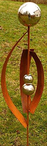 Gartendeko Kleiner Fächer Rost Stecker 120 cm mit 3 Edelstahlkugeln