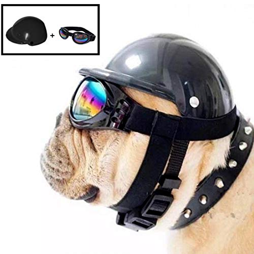AMOYER Netter Hund Helm Hut + Windsicher Regenfest Flieger-Sonnenbrille für Haustier-Katzen-Kostüm/Welpe Sport ABS Kunststoff-Spielzeug Helmet Cap für Haustier (S...