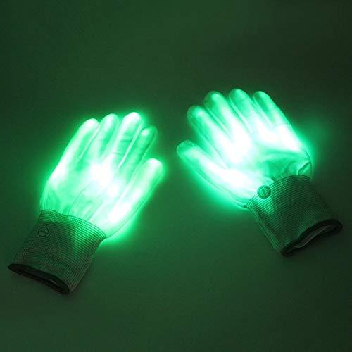 LED Handschuhe, 1Paar gestrickte Nylon Finger Lights Handschuhe für Weihnachten Halloween-Kostüm Party Neuheit Toys Gastgeschenken grün Handschuhe (Grün)