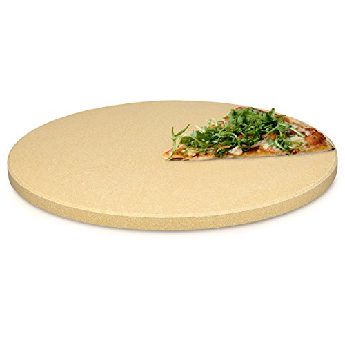 Navaris Pierre à Pizza pour Four XL - Pierre Pizza Ronde Ø 30,5 cm en Cordiérite - pour Four Traditionnel au Bois Barbecue Grill et Charbon