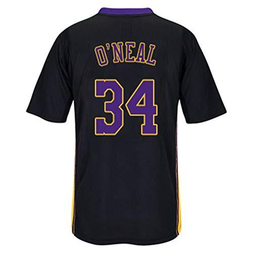 HS-QFQ Shaquille O'Neal NBA L.A. Lakers No. 34 Basketball Jersey Kurzarm elastische weiche atmungsaktive Basketball Sportswear Lila Digital-Schwarze Kurze Hülse Jersey,XL