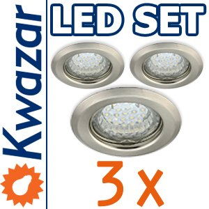 SUPER SET 3er: K-15 Einbaustrahler + LED Lampe 20p /20W + GU10 Fassung 230V von Kwazar Leuchte