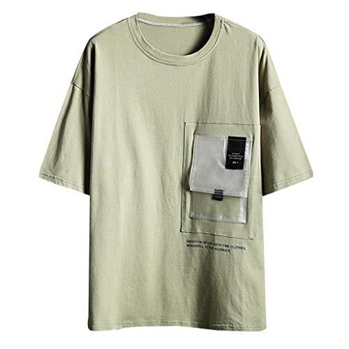 Crazboy Männer beiläufige große lose Feste Kurze Hülsen-Oansatz T-Shirts übersteigt Bluse(Grün-B,Grün-B)
