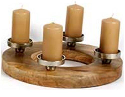 Scheulen Holz Kranz m.4 Kerzenteller aus Alu Adventskranz Kerzenkranz 38cm