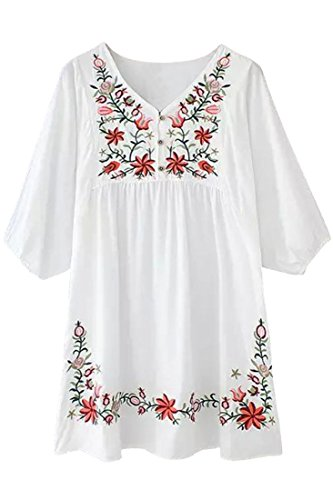Azbro Women's Embroidery Floral Peasant Dress Beige