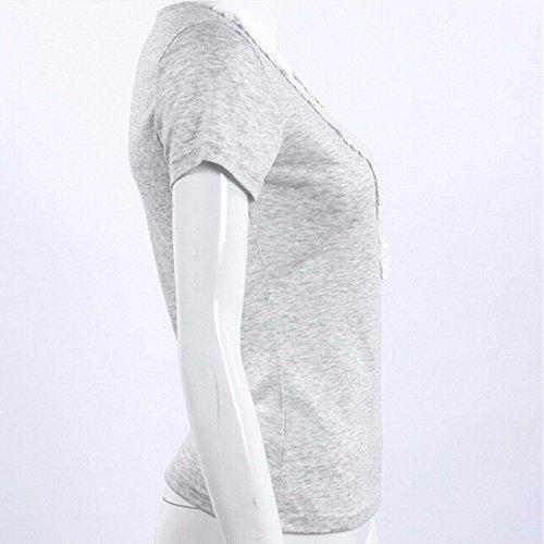 QIYUN.Z T-Shirt Mit V-Ausschnitt Schlank Sexy Spitzen Nähen Baumwoll-T-Shirt Mode Tops Frauen Splice Grau
