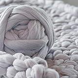 Queta Grob Island Wolle Dicke Wolle Roving Garn für Spinning Hand Strickgarn für Haustier Bett Schal Grau Hellgrau